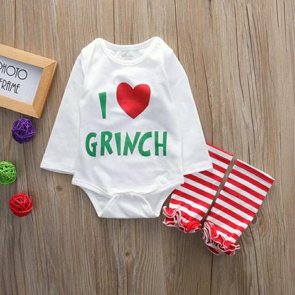 200f0e259f3e One Pieces | Baby Girl Christmas Grinch Onesie Set | Poshmark